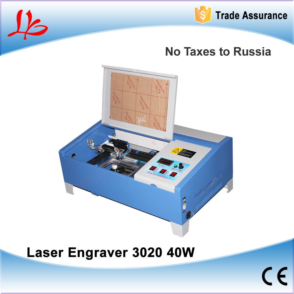 No tax to Russia, 3020/2030 CO2 Laser Engraving Machine, Mini laser engraver with digital function and honeycomb