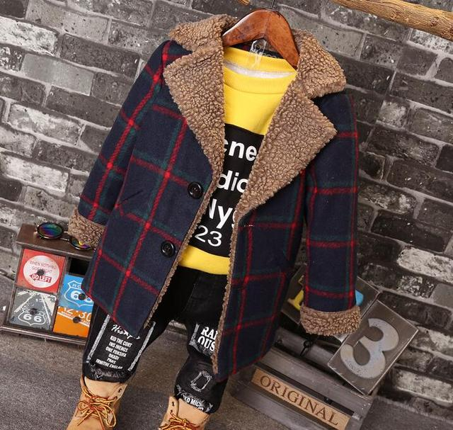 2016 winter and autumn new children boy models boys plaid single breasted long woolen coat children's warm  wool jacket coats