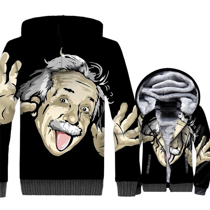 winter fashion harajuku rib sleeve tracksuits men streetwear hip-hop jackets coats 2018 Einstein Funny expression brand clothing