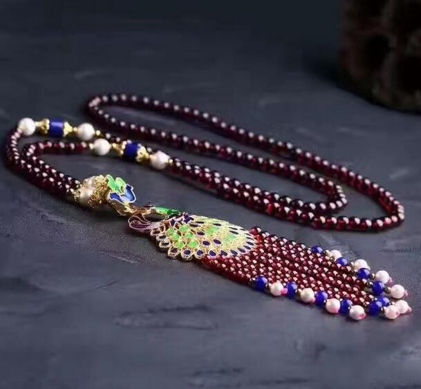 Natural Red Garnets And Multicolor Natural Stone Necklace Sweater Chain 25 6-7mm Necklace Gourd Pendant Home