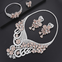LARRAURI 4PCS Luxury Bridal Wedding Engagement Jewelry Sets Big Leaves Collar Necklace Dangle Earrings Bangle Ring Jewelry Sets