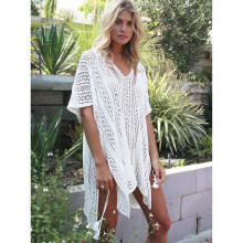 Nova Praia Cover Up Bikini Crochet Malha Tassel Tie Beachwear Verão Swimsuit Cover Up Sexy See-through Vestido de Praia(China)