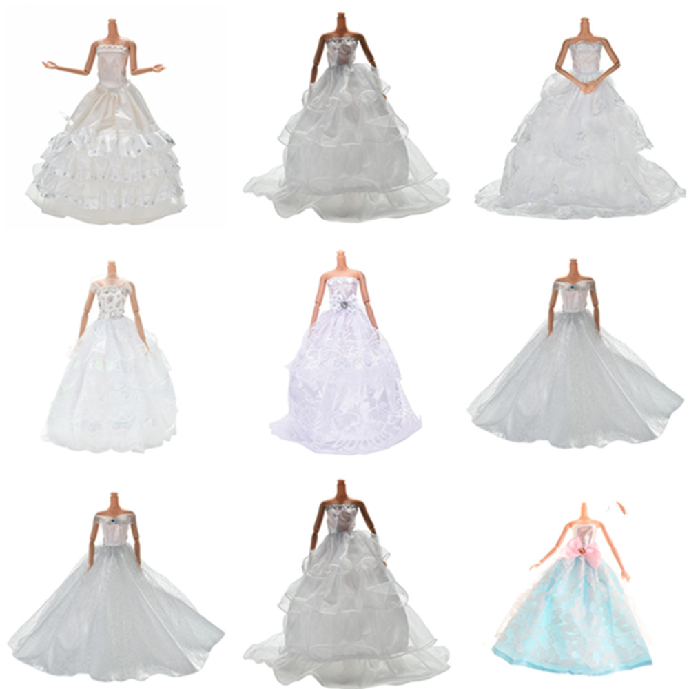 Multi Layers White Handmade Wedding Princess Dress For Barbie Doll Floral Doll Dress Clothes Clothing Dolls Accessories