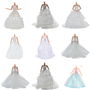 leadingstar 2017 new wedding bridal dress princess gown evening party dress doll clothes outfit for barbie doll for kids gift Multi Layers White Handmade Wedding Princess Dress for Barbie Doll Floral Doll Dress Clothes Clothing Dolls Accessories