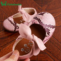 12-14CM Insole Baby Girl Shoes Children Baby Girls Shoes PU Leather Sneaker Leisure Chaussure Enfant Kids Shoes With Bowtie