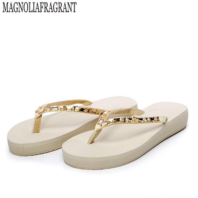 Fashion Solid Women Shoes With Rhinestone Woman Sandals Summer Platform  Flats White Gold Flip Flops Beach slippers z515 a4882c016ec4