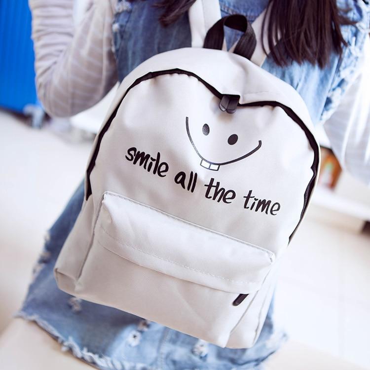 Budalaa Best Brand 100% Real Soft Canvas Smile Men & Women Backpack Bag Strap Laptop Bag Backpacks For Teenager Fashion Style