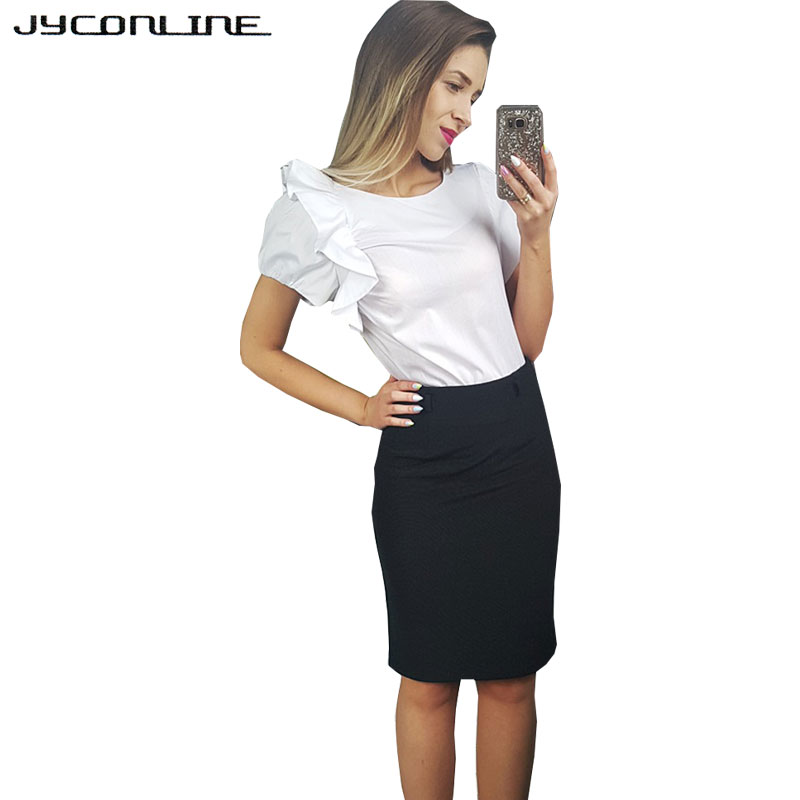 JYConline 2017 Summer Women Tops Short Sleeve Blouse Shirt Blusas Work Wear OL Casual Shirts Women Slim Tops White Womens Shirt