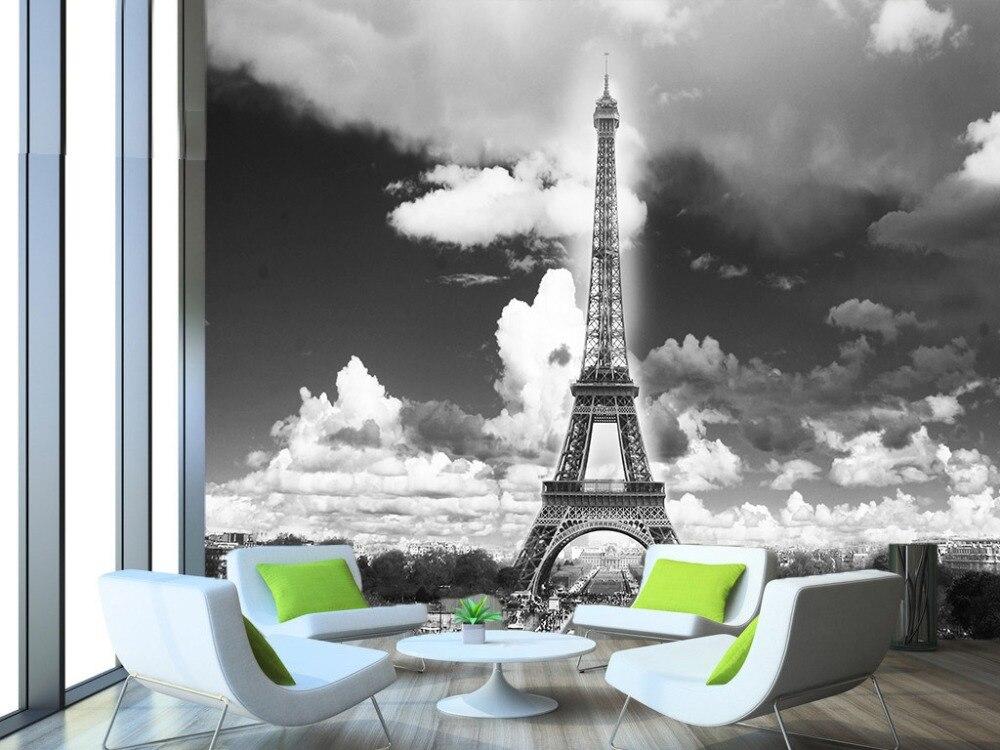 [Self-Adhesive] 3D Grey Sky Eiffel Tower 45 Wall Paper Mural Wall Print Decal Wall Murals
