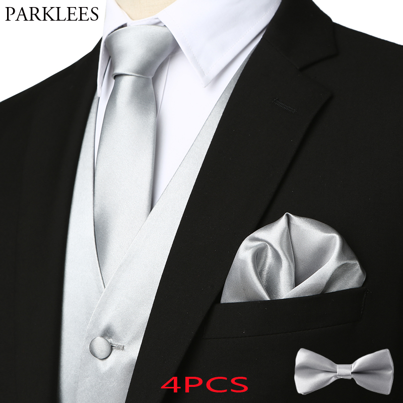 Dubulle Mens Silk Bow Tie and Pocket Square Set for Wedding Tuxedo