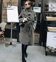 LOVELYDONKEY genuine mink cashmere sweater women cardigan knitted jacket long fur coat free shipping 611