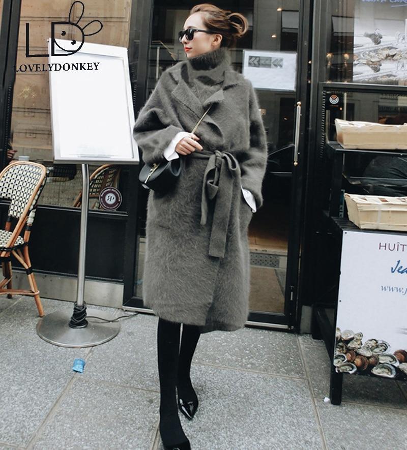 LOVELYDONKEY ekte mink kashmir genser dame cardigan strikket jakke lang pelsfrakk gratis frakt 611
