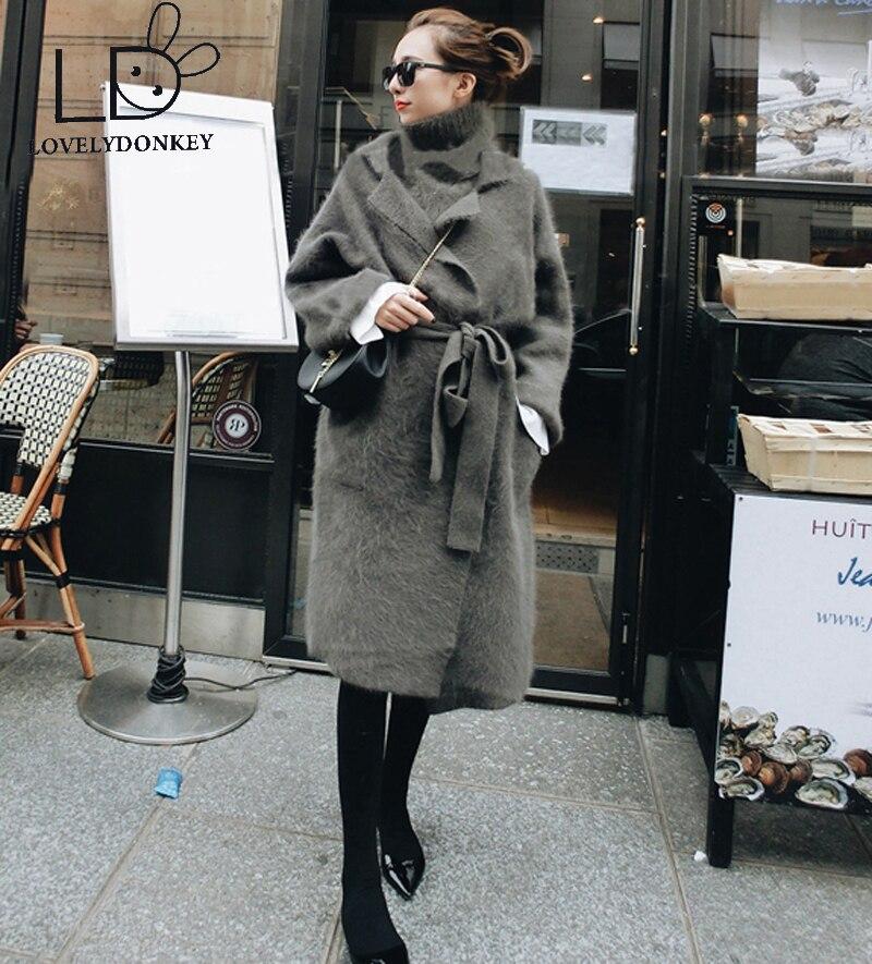 LOVELYDONKEY γνήσια κασμιρίου πουλόβερ γυναικών μάλλινη ζακέτα πλεκτά μπουφάν μακρύ γούνα παλτό ελεύθερη ναυτιλία 611
