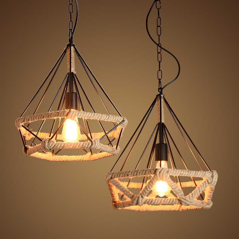 Retro industry Creative type Hanging Lamp Retro LOFTER industrial wind Bar Cafe network iron rope Diamond Pendant cover GY210