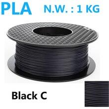 Color negro PLA filamento impresora 3d de alta resistencia 1 kg pla filamento impressora 3d filamento 1.75mm 3d pluma plasti filamento