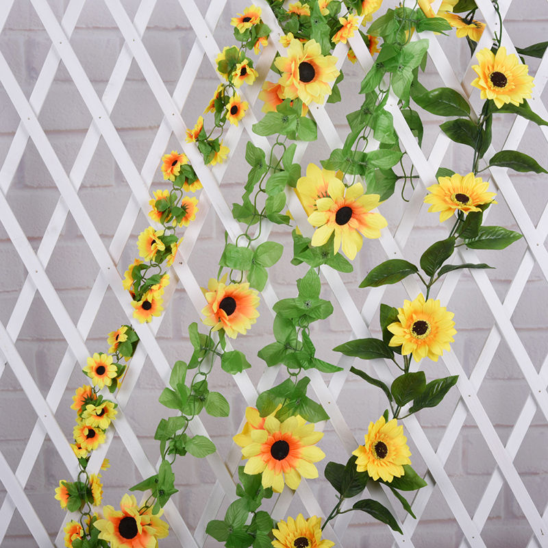 1pcs 2m artificial yellow sunflower garland silk wedding flowers 1pcs 2m artificial yellow sunflower garland silk wedding flowers arch gazebo decor vines wedding party decorative flowers in artificial dried flowers from mightylinksfo