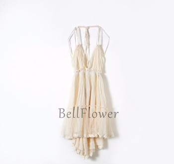 BellFlower 2018 Summer Bohemian Women Mini Dress  Backless Beach Dress Holiday Boho Strapless Sexy Ball Gown Hippie Chic Dress  5