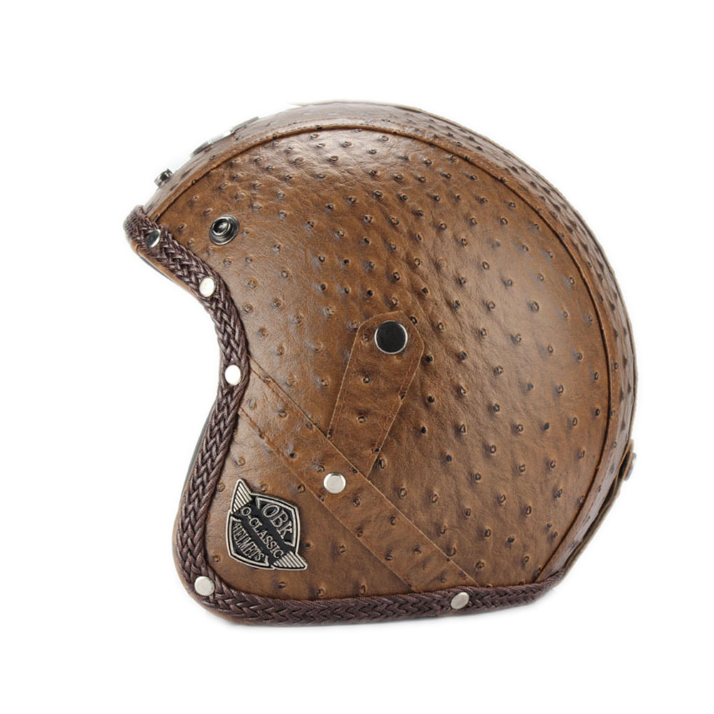Casques en cuir PU 3/4 moto Chopper casque de vélo visage ouvert vintage casque de moto avec masque de lunettes