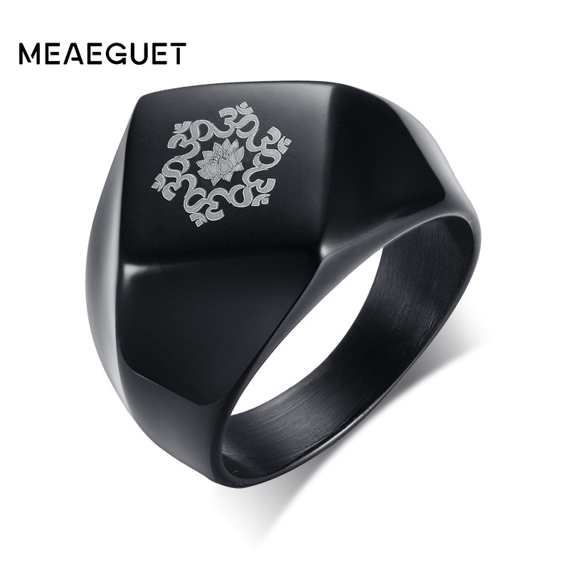 Meaeguet 16mm Wide Punk Mandala Lotus Flower Ring Men Stainless Steel Om Symbol Buddhism ...