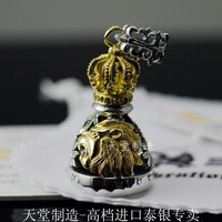 Thailand imports genuine RV carving antique gold crown King bell Pendant