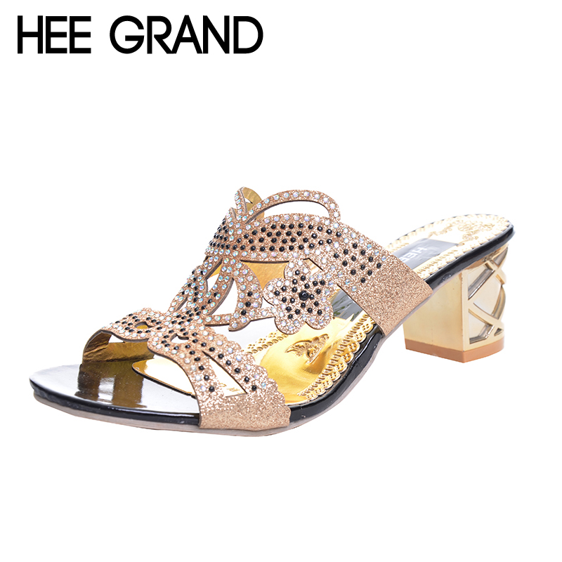 HEE GRAND Woman Slippers Floral Bling Glitter PU Leather Summer Style Shoes Woman Square Heel Fashion Slides Sandals XWT594 xiaying smile summer woman sandals square heel women slippers slides shoes women pumps fashion casual bling crystal women shoes