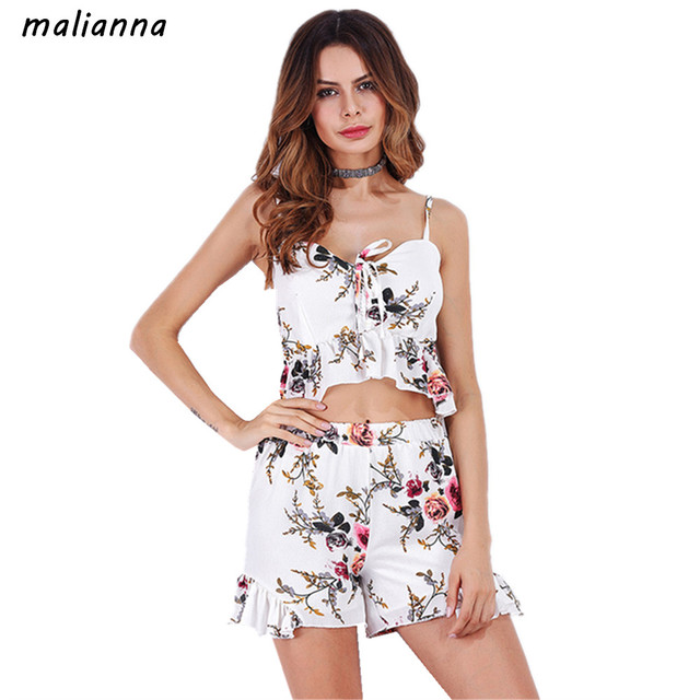 75d6ca175e4f5 malianna 2018 Summer Fashion Women Spaghetti Strap V-Neck Floral Printed 2  Piece Set Crop Tops And Shorts Pants Casual Outfits