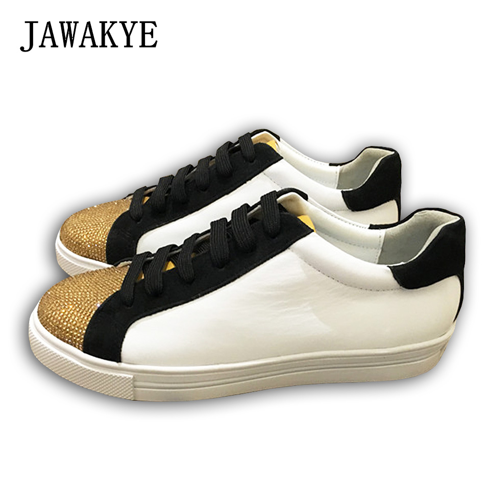 JAWAKYE Jeweled leisure Flat Shoes Woman Round toe Crystal Lace up Patchwork ladies Casual flats Women shoes Sapatos feminino patchwork button up casual shirt