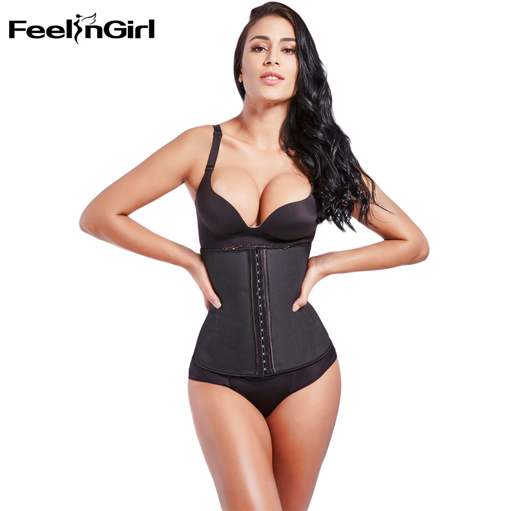 Feelingirl 100% Latex Trainer 9 Steel Bone Μέση αδυνατίσματος μέσης Cincher Burn Fat Body Shaper Girdle Slim Belt Shapewear -C