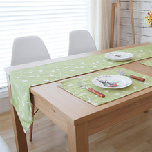 Countryside Leaf Print Embroidered Table Flag Runner Tablecloth Solid Modern Simple Cover forWedding Party Home Decoration