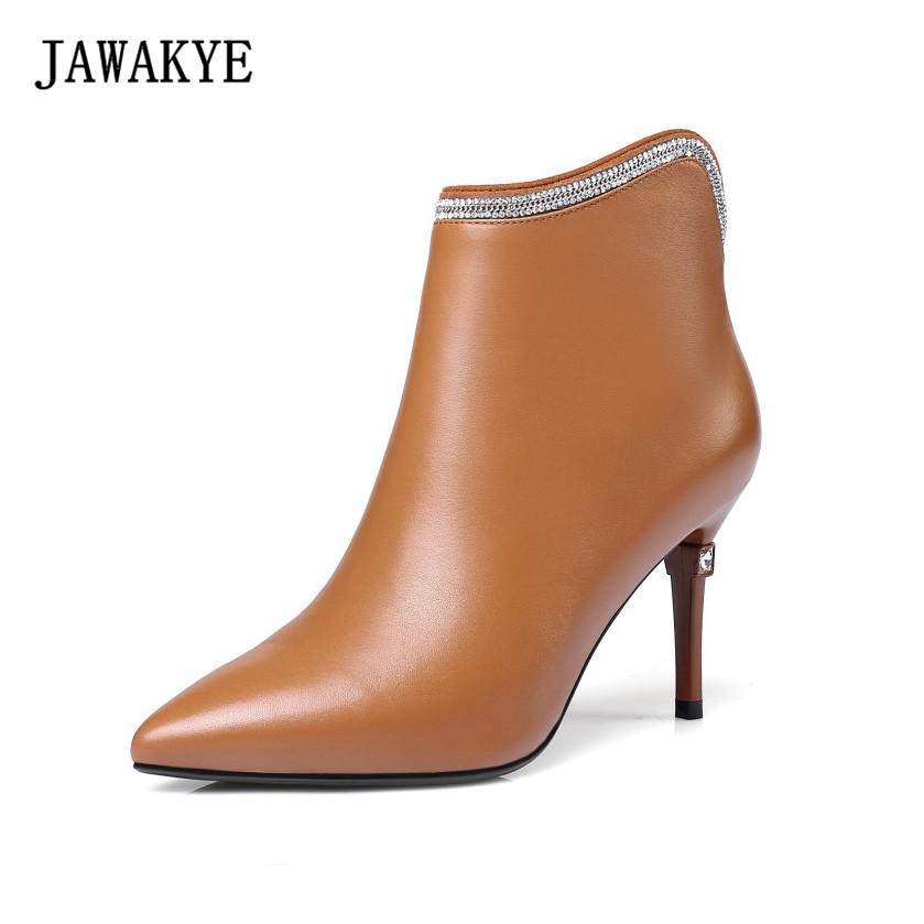 JAWAKYE Pointy Toe Black Genuine Leather Boots Women Rhinestone High Heels Studded Ankle Boots Winter Shoes Woman jawakye round toe silver chains studded ankle boots women flat heel genuine leather winter shoes motocycle boots for women