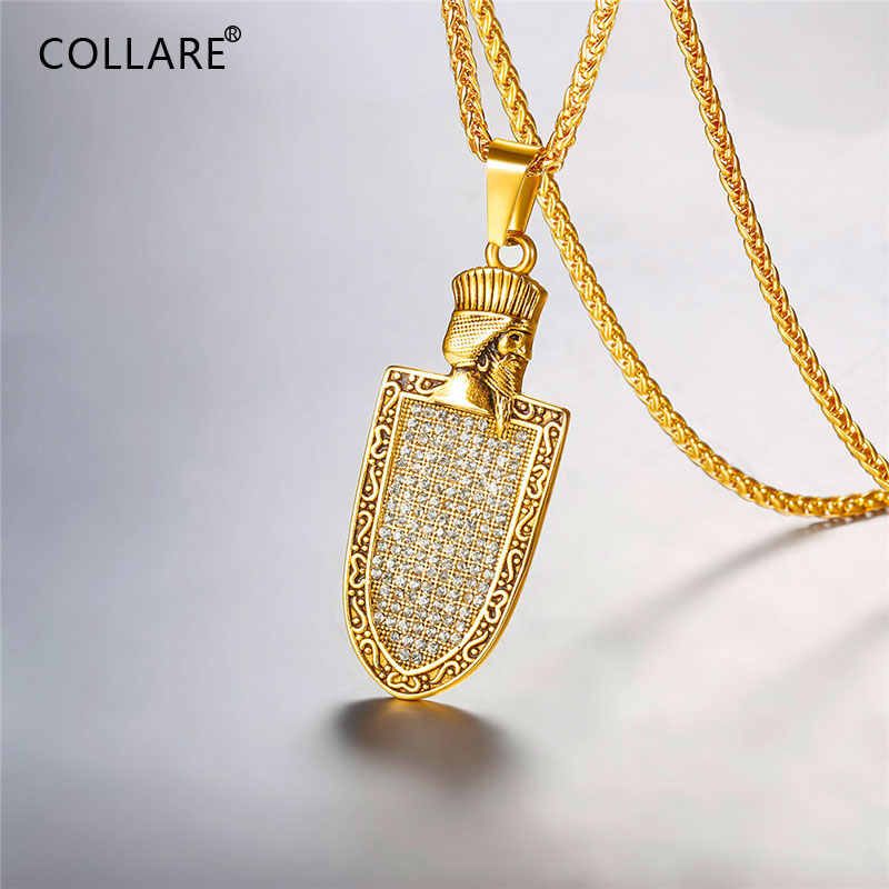 Collare Faravahar Ahura Mazda Pendant Iced Out Iran Jewelry Stainless Steel Zoroastrian Gold/Black Color Iranian Necklace P835