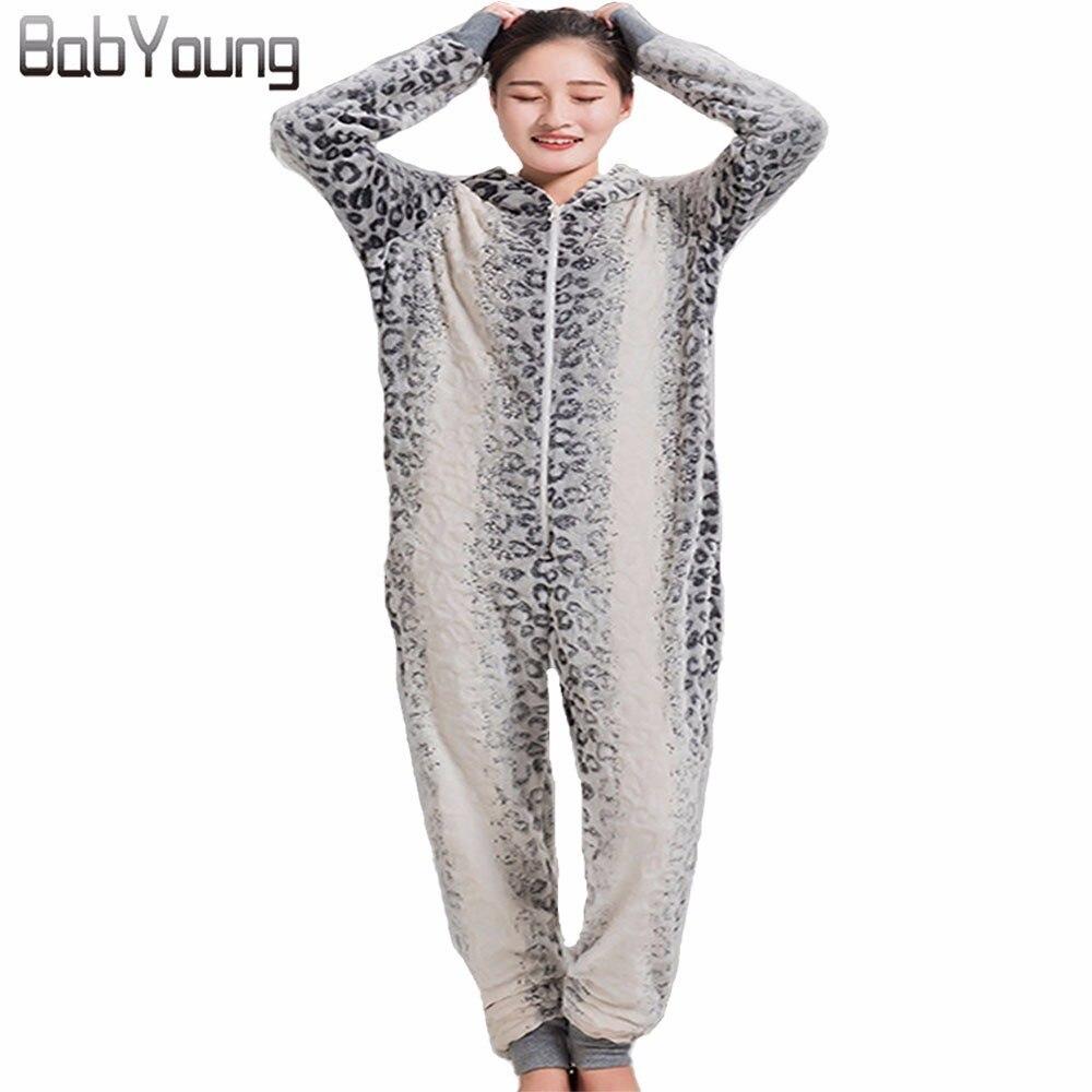 Pyjama BabYoung hiver chaud pour femmes combinaison imprimé léopard pyjama pour adultes Onsie hommes Kigurumi Onepiece Pijamas De Animales
