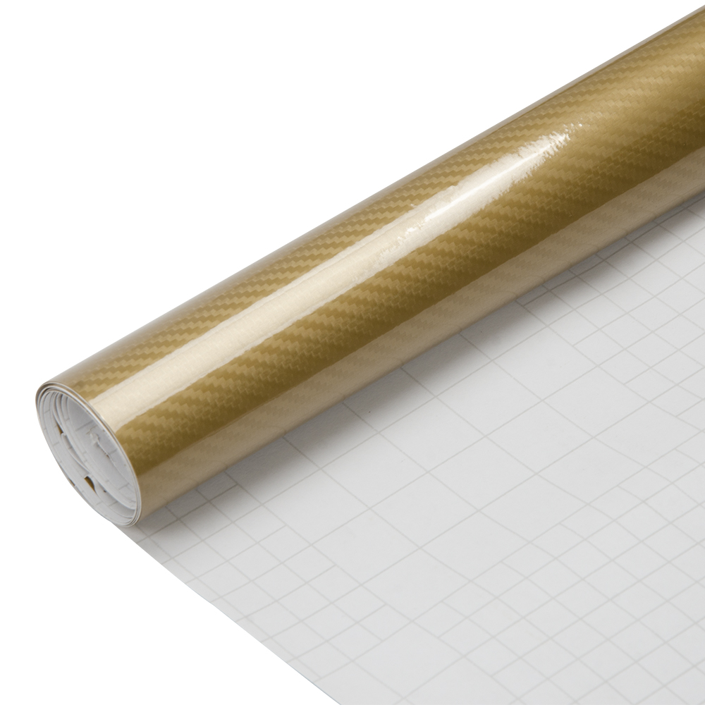 5D Gold Carbon Fiber High Gloss Car Vinyl Wrap Sticker Decal Film Sheet Bubble Free Air Release Technology 60