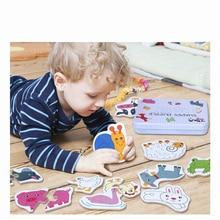 Новое поступление, детская деревянная железная коробка с карточками, подходящая игра с героями мультфильмов, познавательные игрушки 6 в 1, детские игрушки, головоломка для раннего обучения