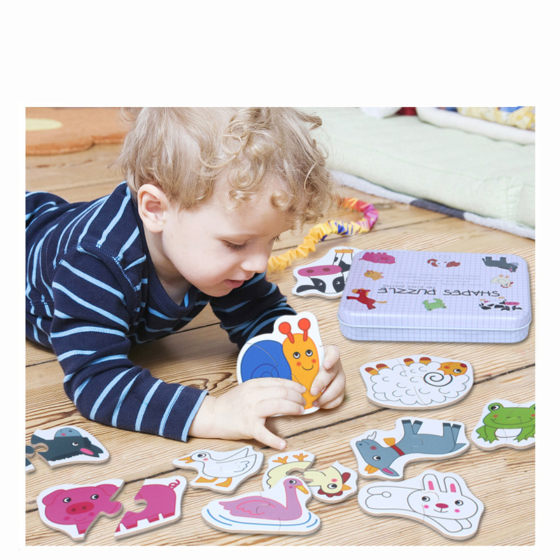 2018 New Arrival Kids Wooden Iron Box Cards Matching Game Cartoon Cognition 6 in 1 Baby Toys Infant Early Training Puzzle