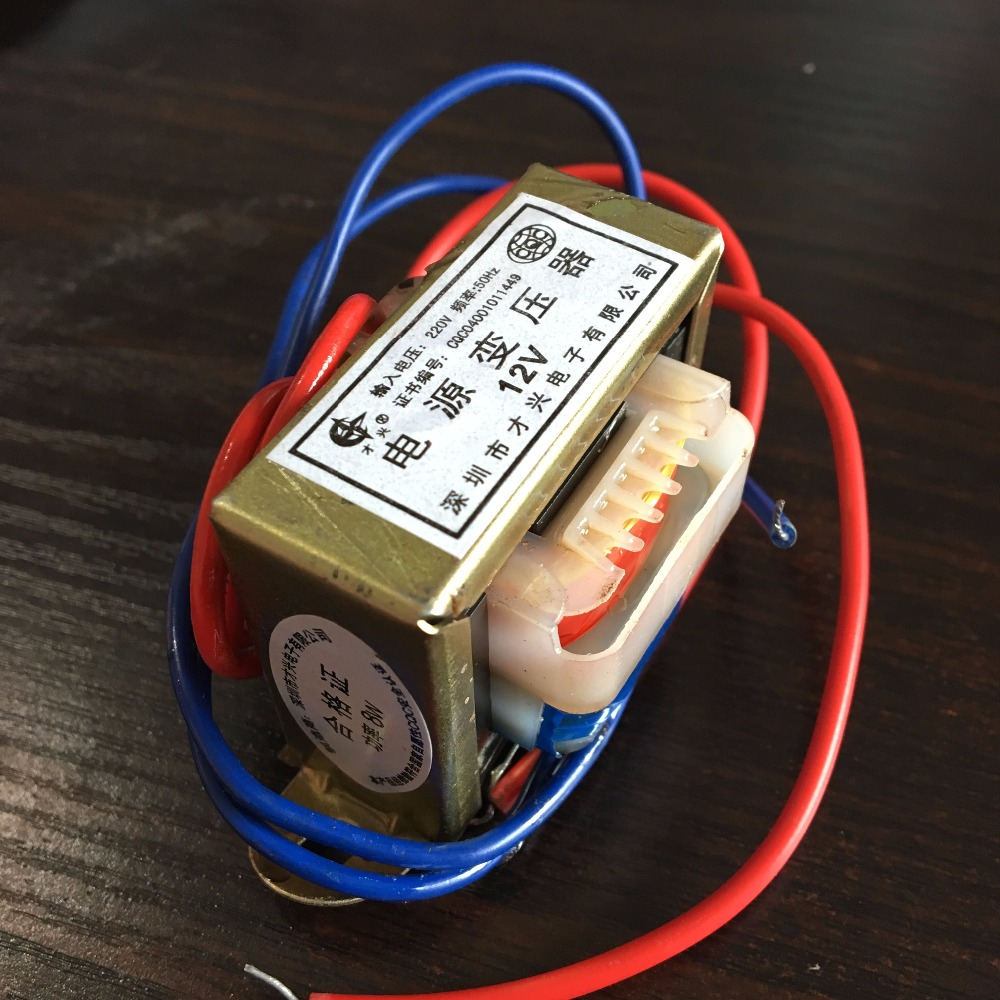 (1) 12VAC Output Voltage 8W EI Ferrite Core Input 220V 50Hz Vertical Mount Electric Power Transformer EI 48*18