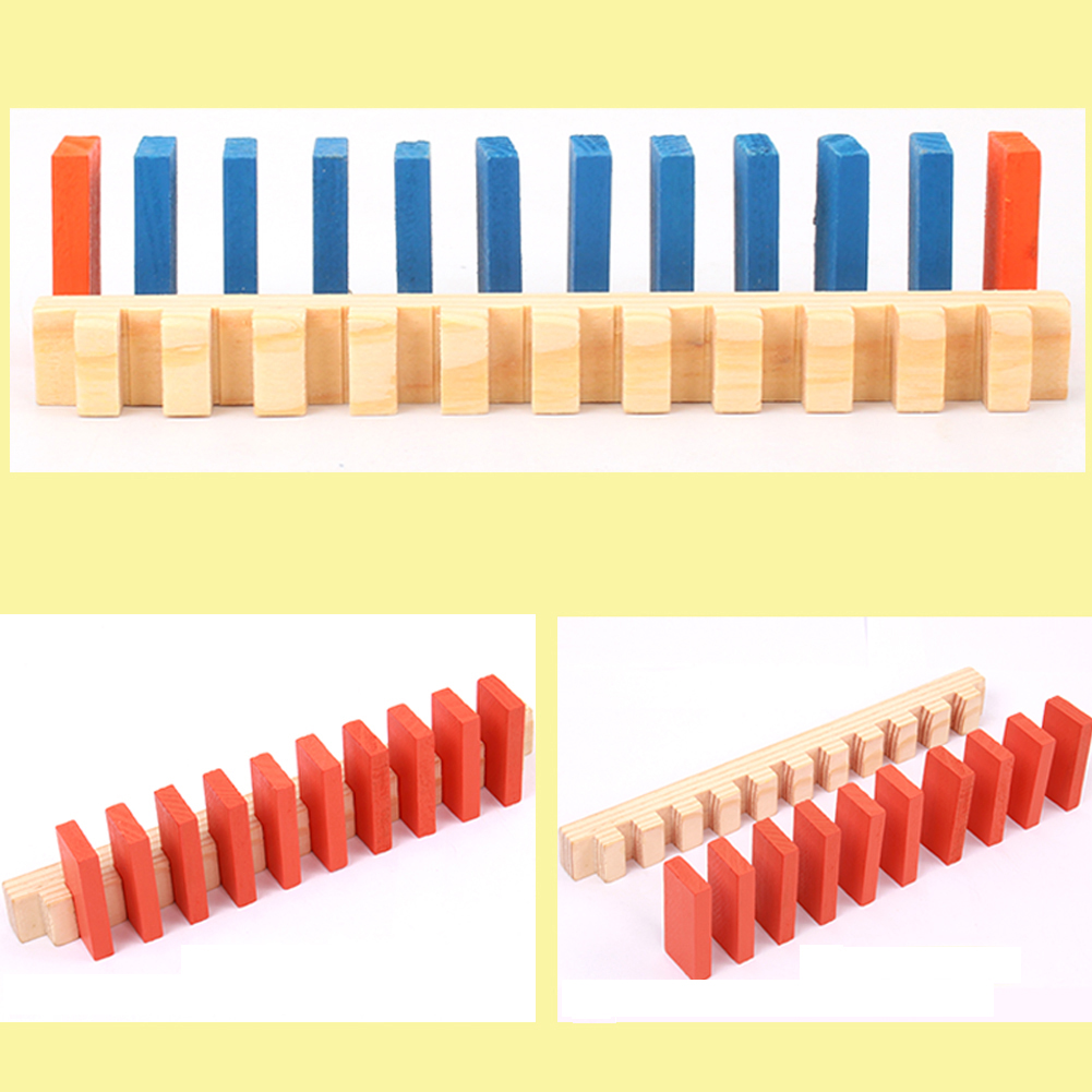 240pcs Colored Wooden Domino Set 34