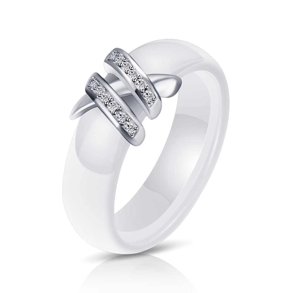 Best 6mm High Quality Black And White Simple Style Two Line Crystal Ziron Ceramic Rings For Women Fashion Jewelry Gift 5