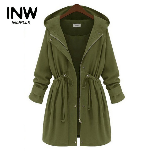 bc57d22d2be0 Autumn Winter Jacket Coats Women 2019 Fashion Outwear Coat Large Size Long  Sleeve Hooded Jackets Women ArmyGreen Chaquetas Mujer
