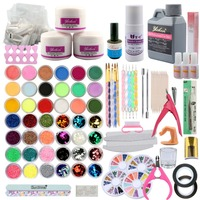 42 Pcs/Set Acrylic Powder Acrylic Nail Kit Crystal Nail Polymer Acrylic For Nails Set For Manicure Need UV Lamp Nail Art Brush