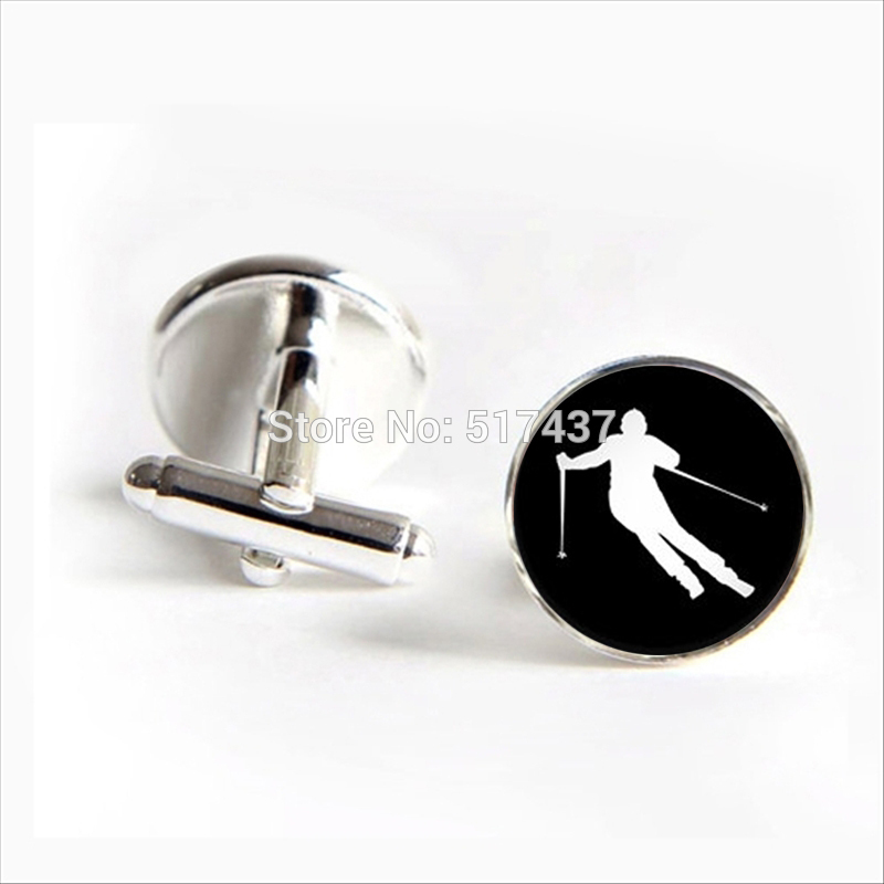 2018 New Fashion Ski Cufflinks Skiing Cufflinks Sprots Lover's Jewelry Shirt Cufflinks For Men's