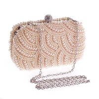 Fashion Cluth Evening Party Pearl Beaded Bag Chain Shoulder Messenger Purse Pochette for Wedding Banquet