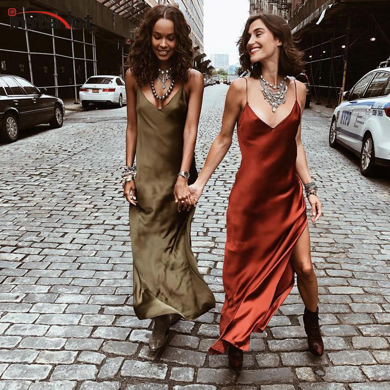 InstaHot Sexy Satin V Neck Maxi Dress Women Spaghetti Strap Sleeveless Backless Side Split Long Dresses 2019 Spring Lady Vestido