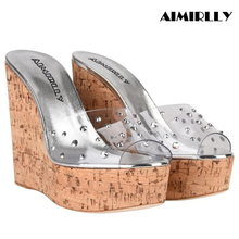 Aimirlly Summer Women Shoes Cork Wedge Sky High Platform Transparent PVC Mules Heel Sandals Slip On Comfortable to Wear