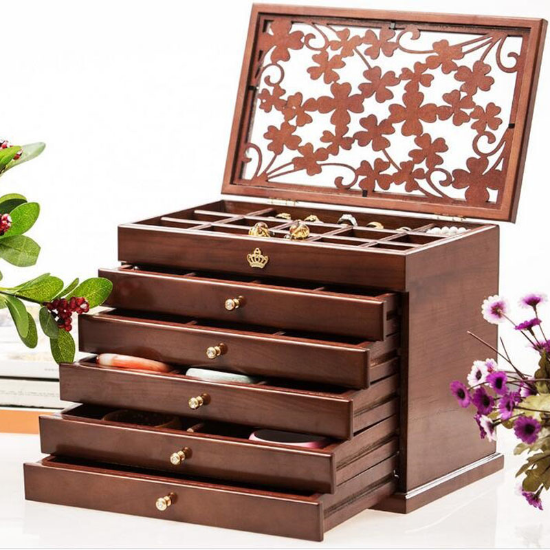 Jewelry Box 28 Section Clic Organizer With Modern Buckle Closure Large Mirror