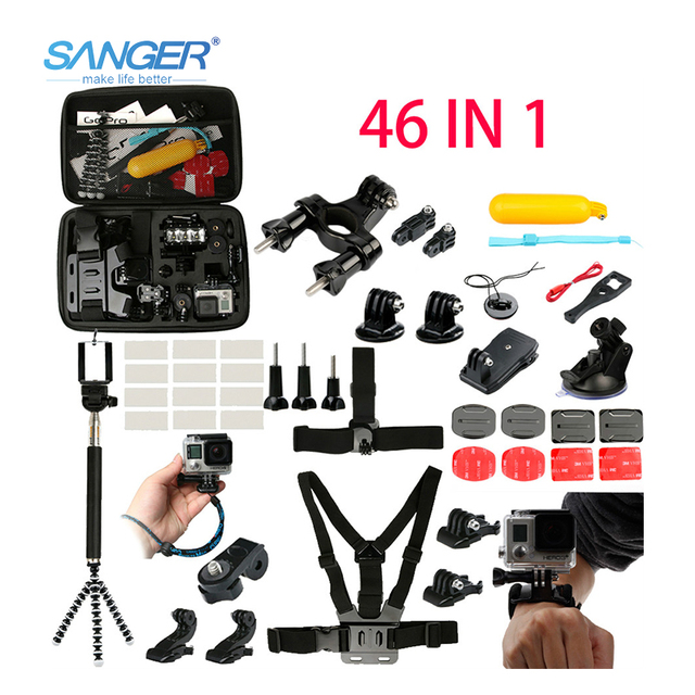 SANGER for Gopro Accessories Chest Head Strap Monopod Floating Mount for Xiaomi Yi Action Camera Go Pro Hero5 4 3+ Sjcam Sj4000