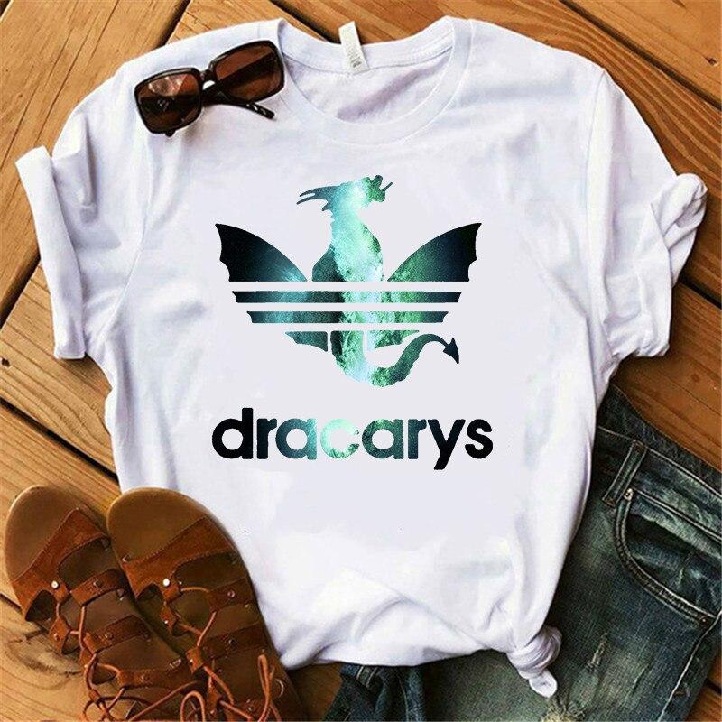 SexeMara New Green Shine Dragon Print Female T-shirt Fashion Dracarys Letter Women Short Sleeve Cool Graphic Tee Women Summer
