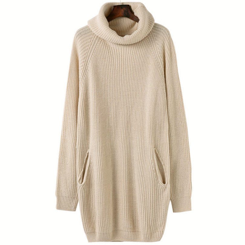 Turtleneck Autumn Dress Women Loose Pocket Wool Sweater Dress Casual Knitted Dress Vestidos Mujer women turtleneck front pocket sweater dress
