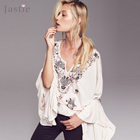 Jastie Siren Song Top Women Blouses Vintage Embroidery Floral Ruffle Cuffs V Neck Plus Size Loose