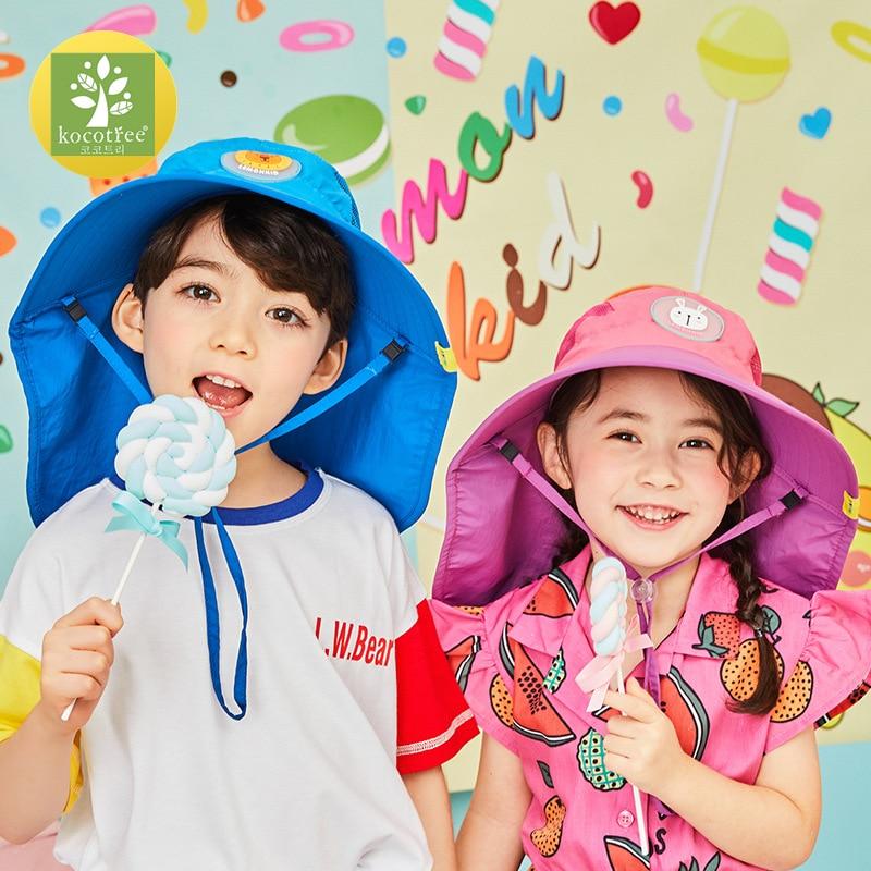 Kocotree Wide Brim Children Sun Hat  Kids Bucket Cap Summer Beach Girls Travel Outdoor New Fashion Cute Casual Sun HatsMens Sun Hats   -